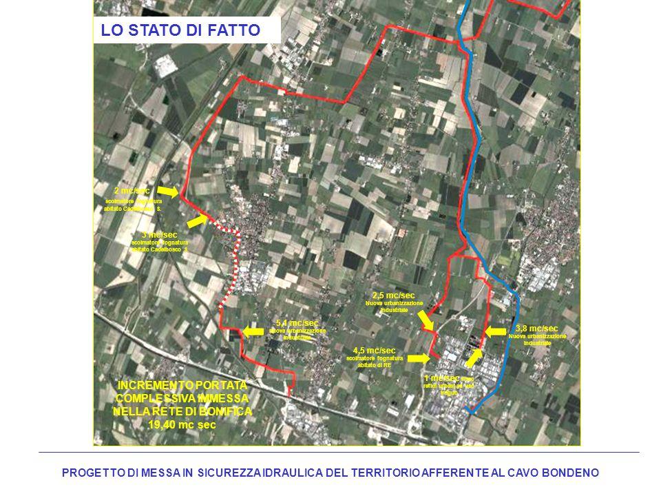 LO STATO DI FATTO 2 mc/sec. scolmatore fognatura abitato Cadelbosco S. 3 mc/sec. scolmatore fognatura abitato Cadelbosco S.