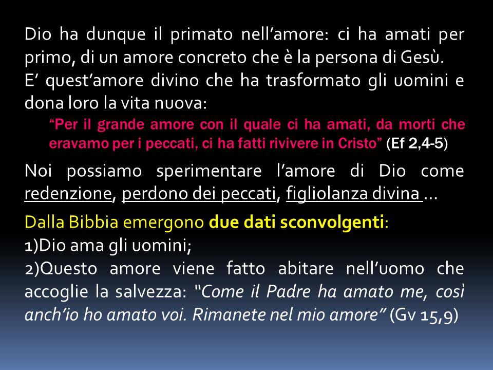 Dalla Bibbia emergono due dati sconvolgenti: Dio ama gli uomini;