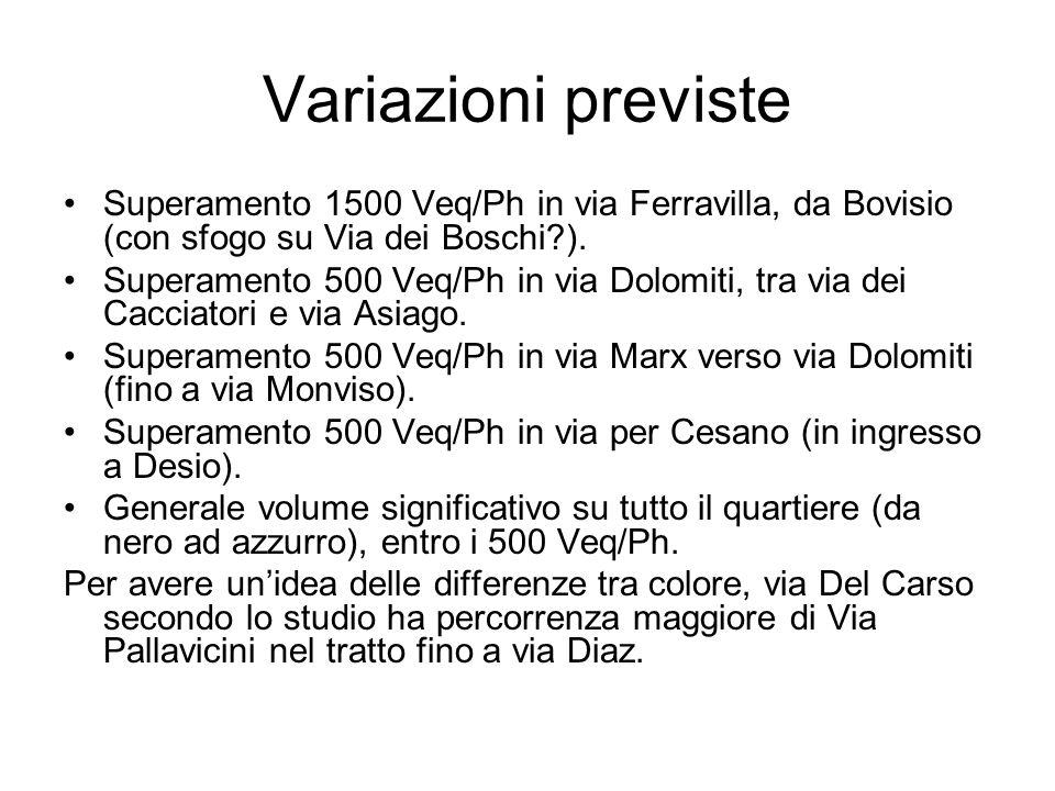 Variazioni previste Superamento 1500 Veq/Ph in via Ferravilla, da Bovisio (con sfogo su Via dei Boschi ).
