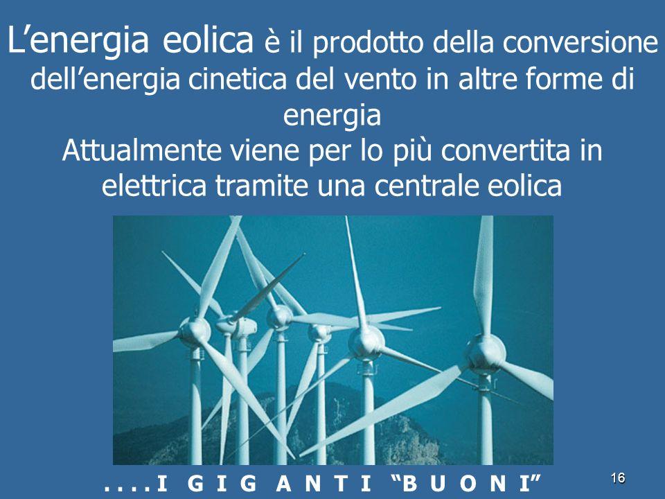 L'energia eolica è il prodotto della conversione dell'energia cinetica del vento in altre forme di energia