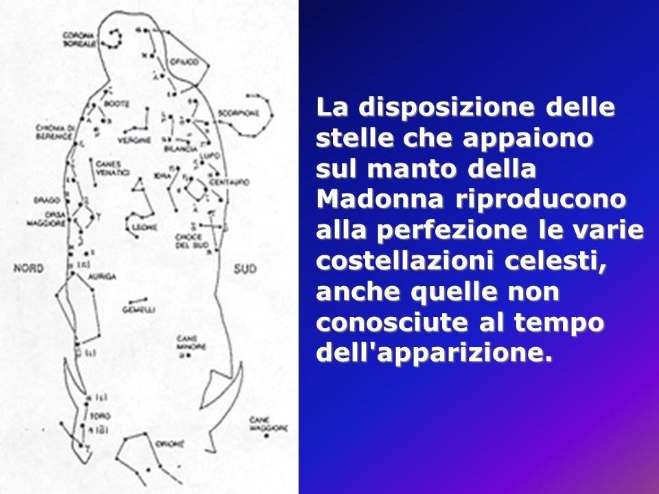 La disposizione delle stelle che appaiono sul manto della Madonna riproducono alla perfezione le varie costellazioni celesti, anche quelle non conosciute al tempo dell apparizione.
