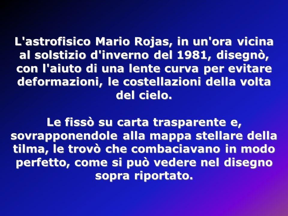 L astrofisico Mario Rojas, in un ora vicina al solstizio d inverno del 1981, disegnò, con l aiuto di una lente curva per evitare deformazioni, le costellazioni della volta del cielo.