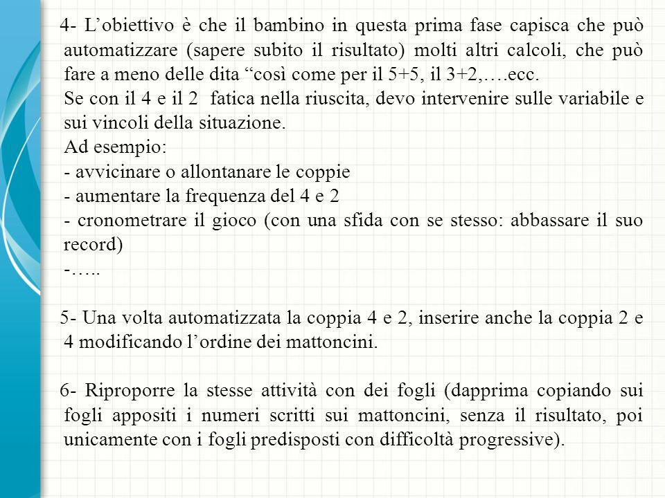 4- L'obiettivo è che il bambino in questa prima fase capisca che può automatizzare (sapere subito il risultato) molti altri calcoli, che può fare a meno delle dita così come per il 5+5, il 3+2,….ecc.