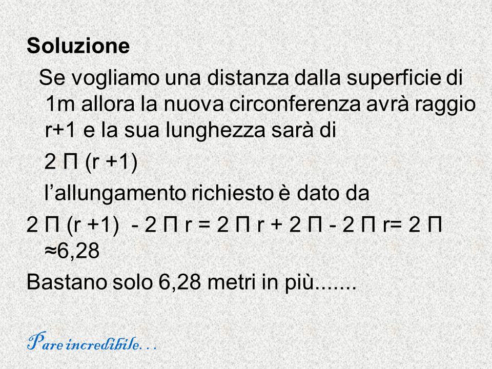 Soluzione Se vogliamo una distanza dalla superficie di 1m allora la nuova circonferenza avrà raggio r+1 e la sua lunghezza sarà di.