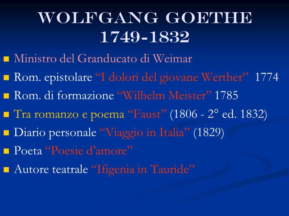 Wolfgang Goethe 1749-1832 Ministro del Granducato di Weimar
