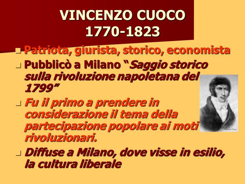 VINCENZO CUOCO 1770-1823 Patriota, giurista, storico, economista