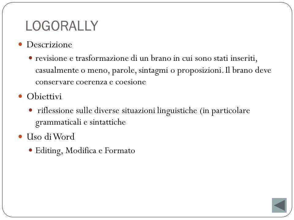 LOGORALLY Descrizione Obiettivi Uso di Word