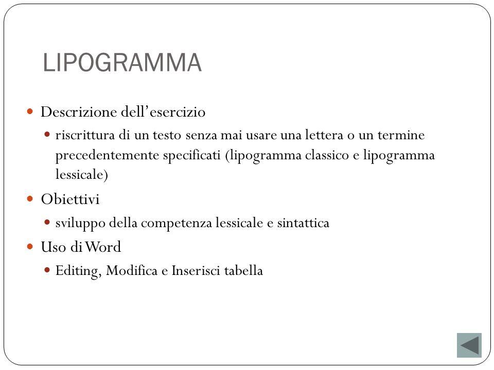 LIPOGRAMMA Descrizione dell'esercizio Obiettivi Uso di Word