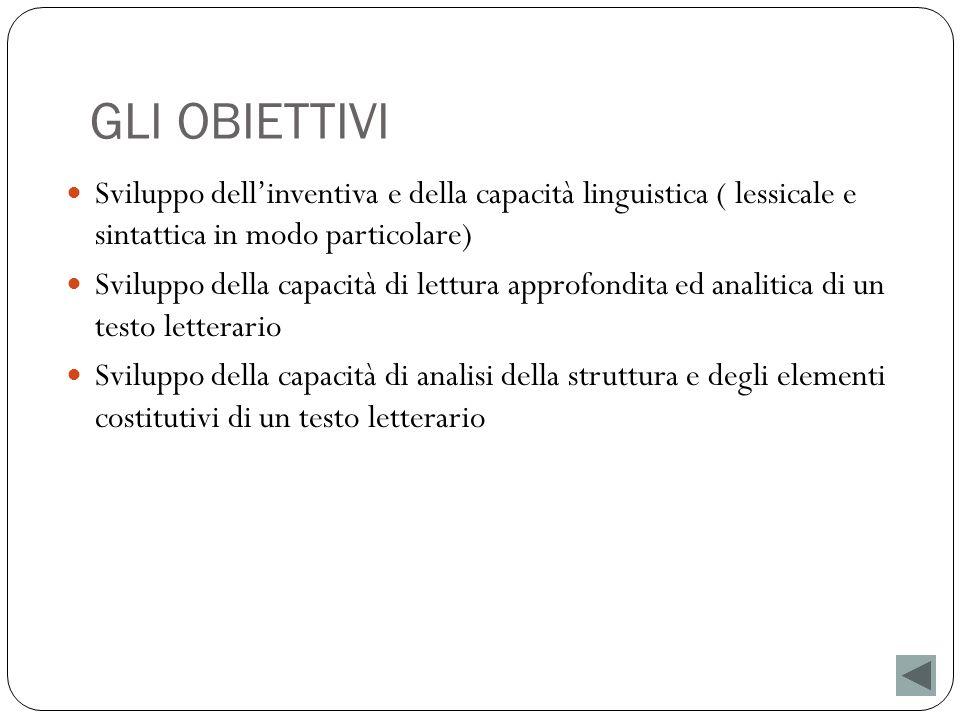 GLI OBIETTIVI Sviluppo dell'inventiva e della capacità linguistica ( lessicale e sintattica in modo particolare)