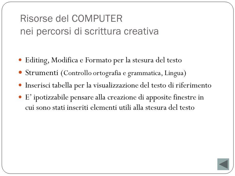 Risorse del COMPUTER nei percorsi di scrittura creativa