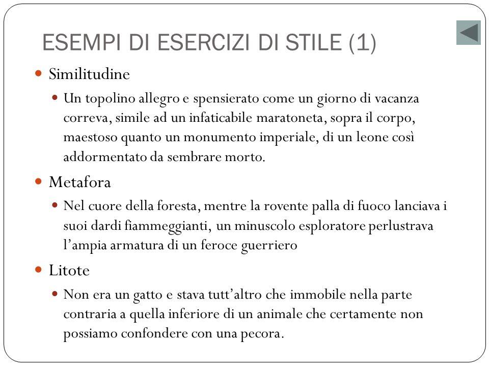 ESEMPI DI ESERCIZI DI STILE (1)