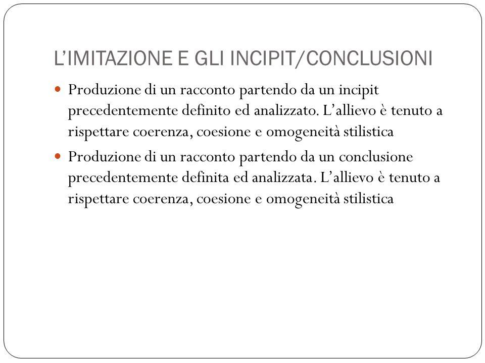 L'IMITAZIONE E GLI INCIPIT/CONCLUSIONI