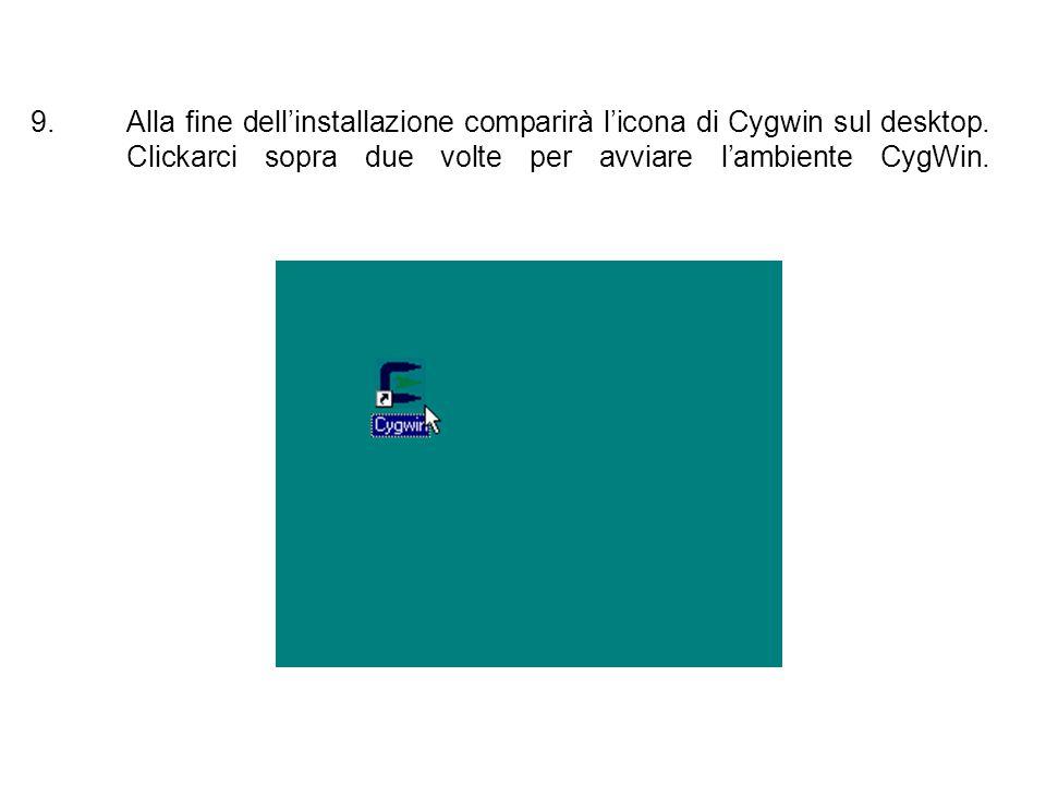 Alla fine dell'installazione comparirà l'icona di Cygwin sul desktop