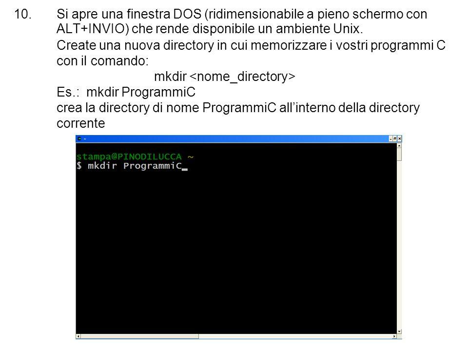 Si apre una finestra DOS (ridimensionabile a pieno schermo con ALT+INVIO) che rende disponibile un ambiente Unix.