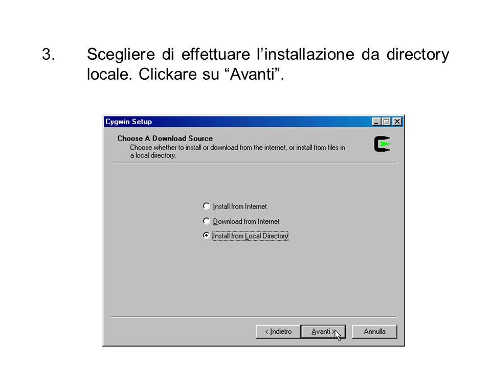 Scegliere di effettuare l'installazione da directory locale