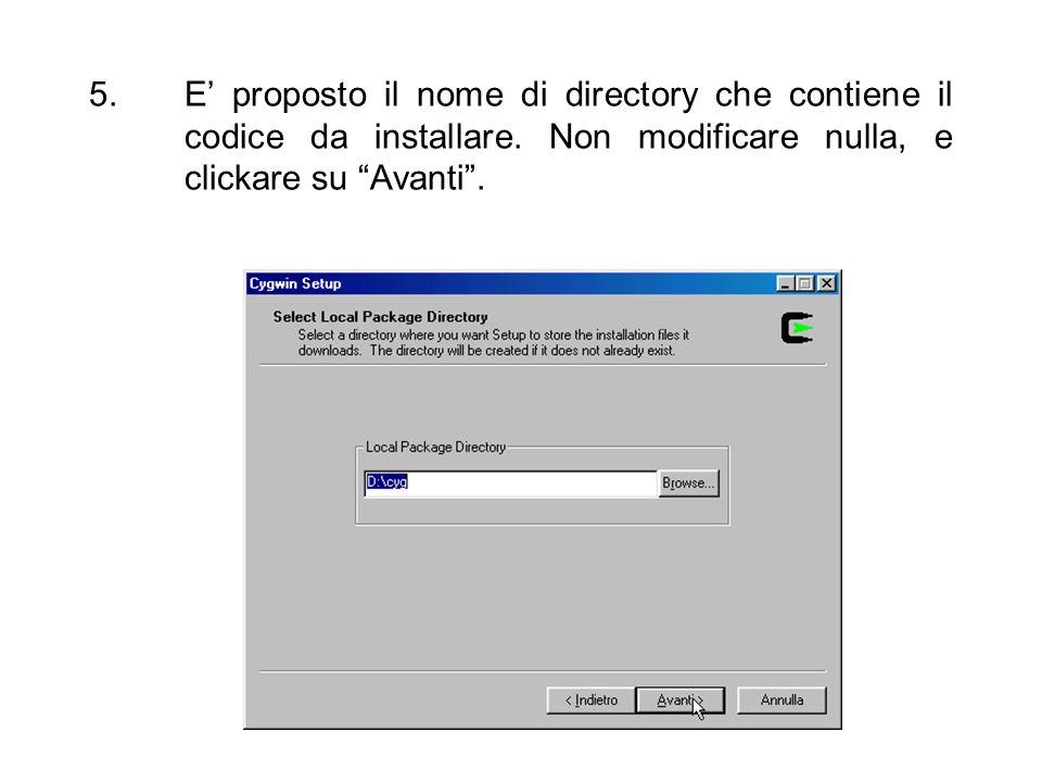 E' proposto il nome di directory che contiene il codice da installare
