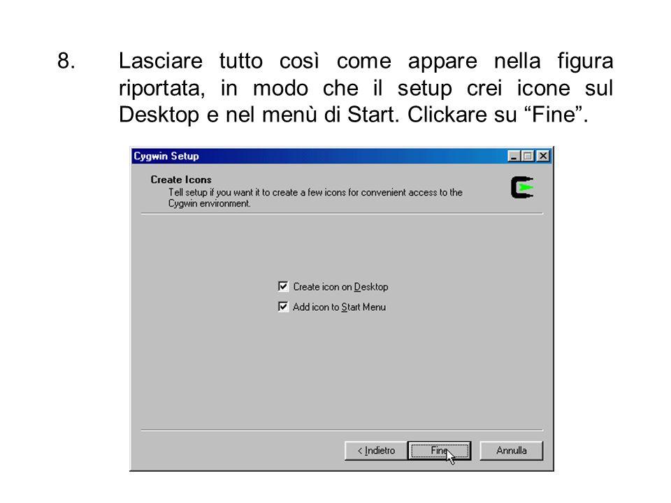 Lasciare tutto così come appare nella figura riportata, in modo che il setup crei icone sul Desktop e nel menù di Start.