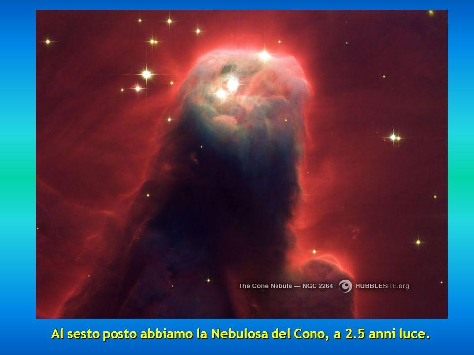 Al sesto posto abbiamo la Nebulosa del Cono, a 2.5 anni luce.