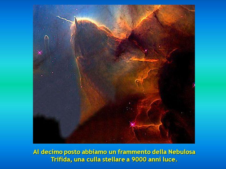 Al decimo posto abbiamo un frammento della Nebulosa Trifida, una culla stellare a 9000 anni luce.