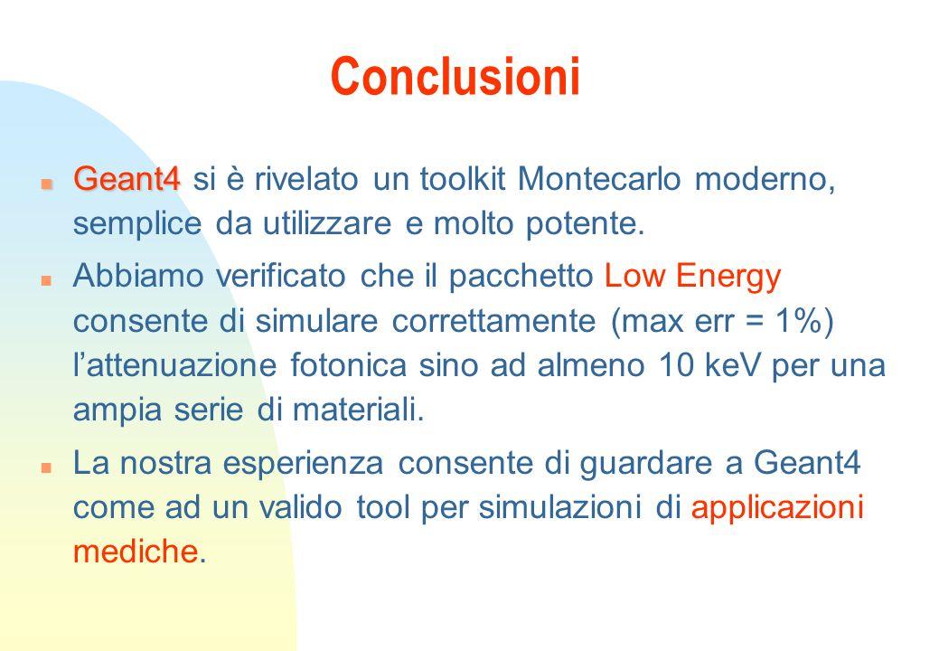 Conclusioni Geant4 si è rivelato un toolkit Montecarlo moderno, semplice da utilizzare e molto potente.