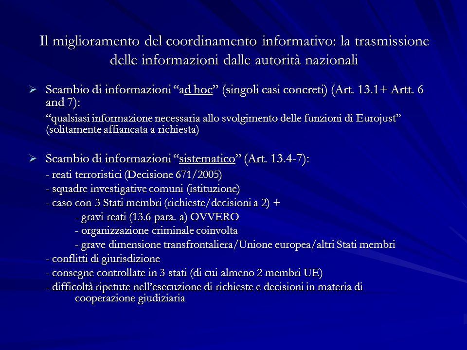 Il miglioramento del coordinamento informativo: la trasmissione delle informazioni dalle autorità nazionali