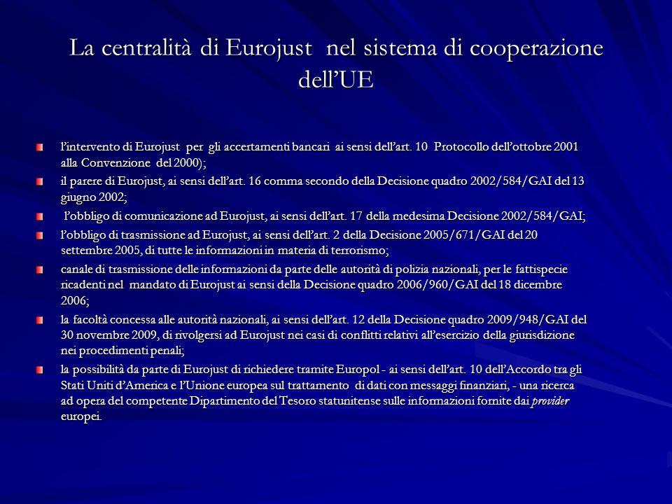 La centralità di Eurojust nel sistema di cooperazione dell'UE