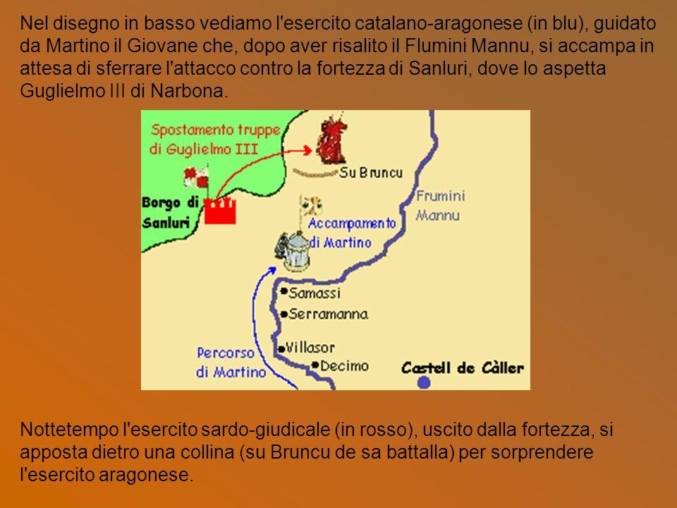 Nel disegno in basso vediamo l esercito catalano-aragonese (in blu), guidato da Martino il Giovane che, dopo aver risalito il Flumini Mannu, si accampa in attesa di sferrare l attacco contro la fortezza di Sanluri, dove lo aspetta Guglielmo III di Narbona.