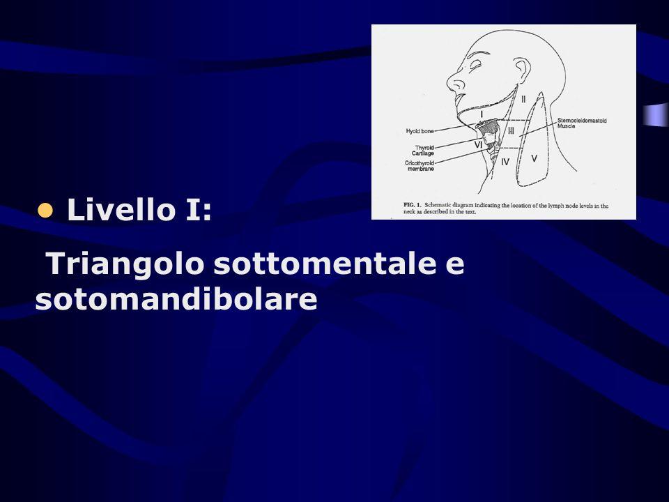 • Livello I: Triangolo sottomentale e sotomandibolare
