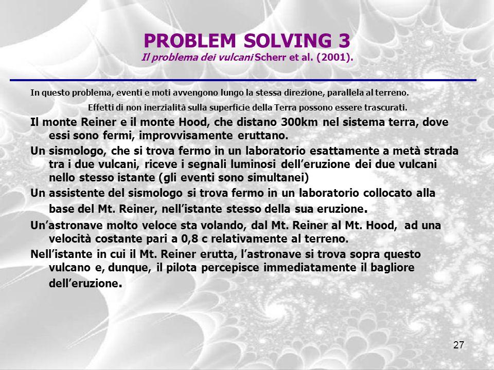 PROBLEM SOLVING 3 Il problema dei vulcani Scherr et al. (2001).