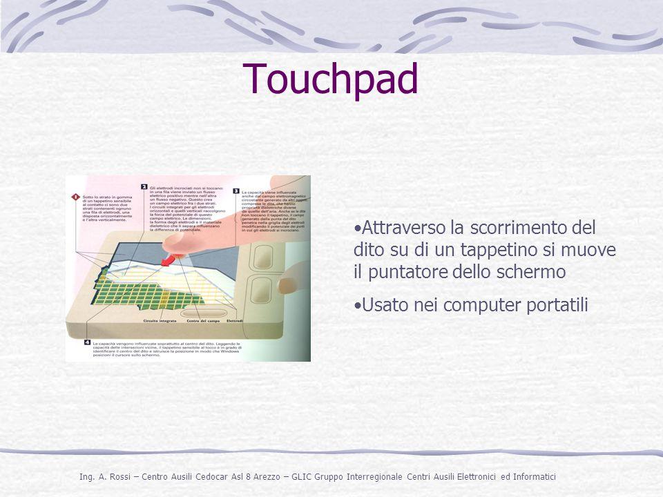 Touchpad Attraverso la scorrimento del dito su di un tappetino si muove il puntatore dello schermo.