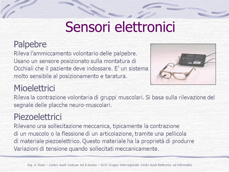 Sensori elettronici Palpebre Mioelettrici Piezoelettrici