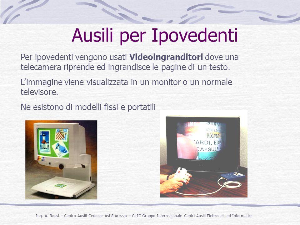 Ausili per Ipovedenti Per ipovedenti vengono usati Videoingranditori dove una telecamera riprende ed ingrandisce le pagine di un testo.