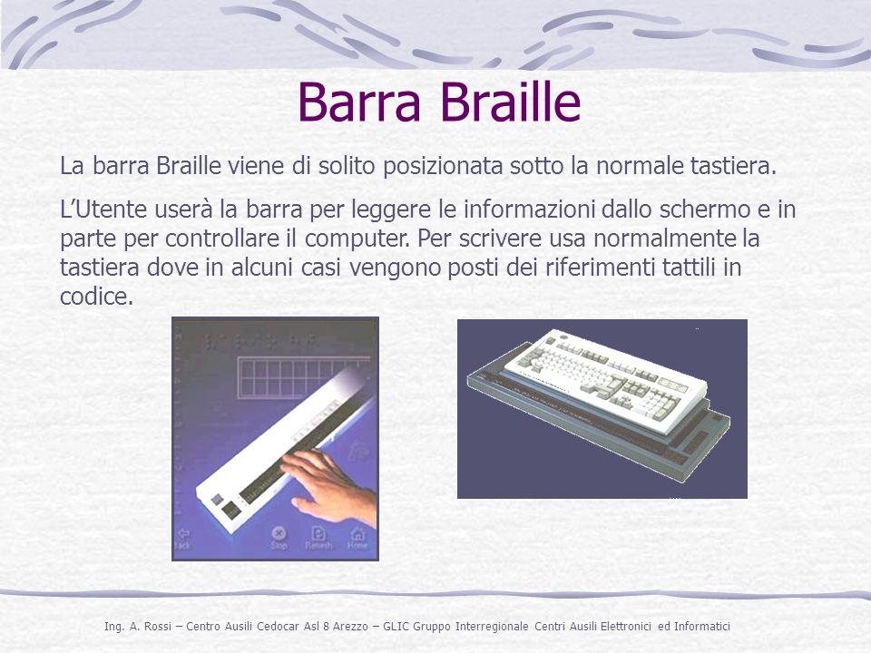 Barra Braille La barra Braille viene di solito posizionata sotto la normale tastiera.