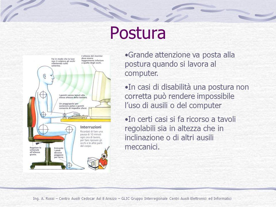 Postura Grande attenzione va posta alla postura quando si lavora al computer.