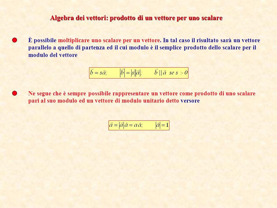Algebra dei vettori: prodotto di un vettore per uno scalare