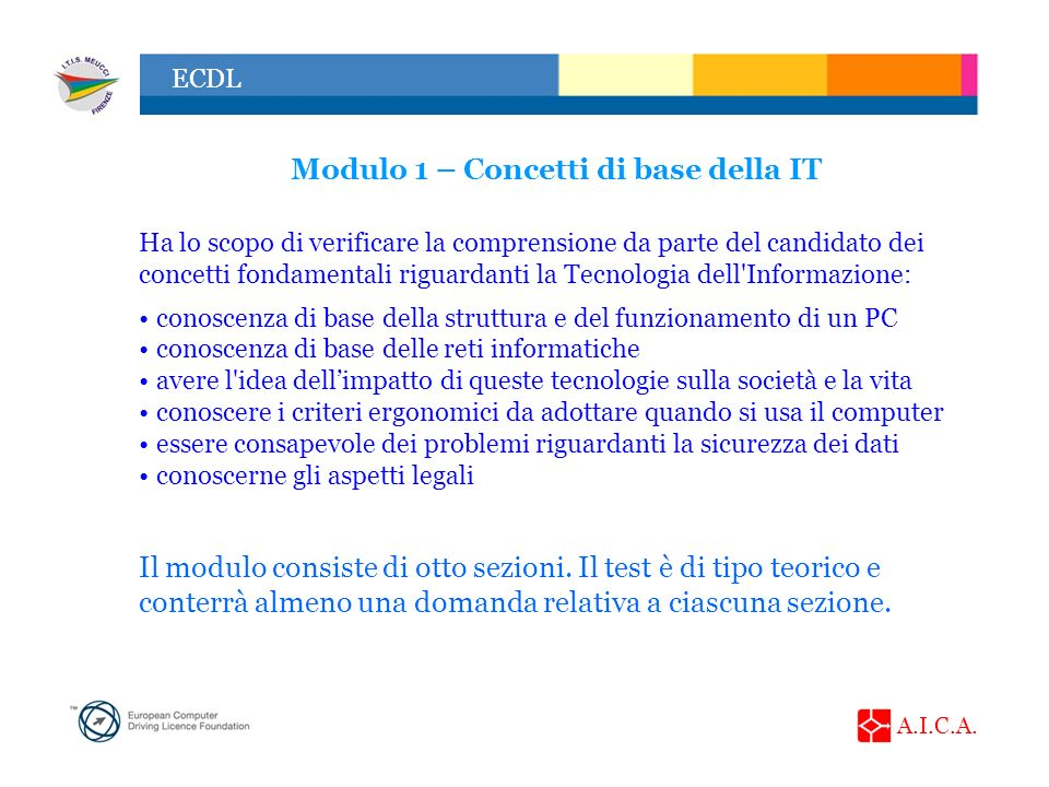 Modulo 1 – Concetti di base della IT