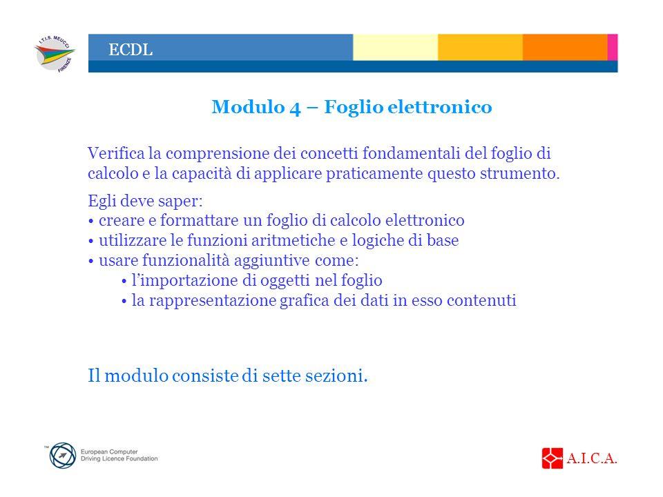 Modulo 4 – Foglio elettronico