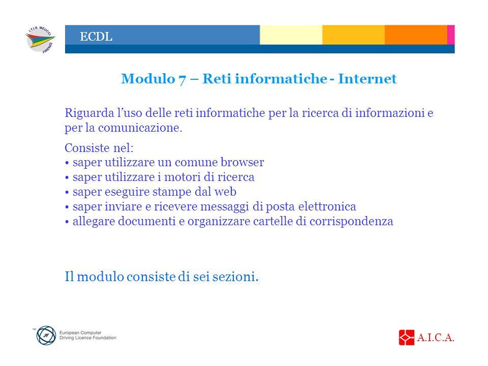 Modulo 7 – Reti informatiche - Internet