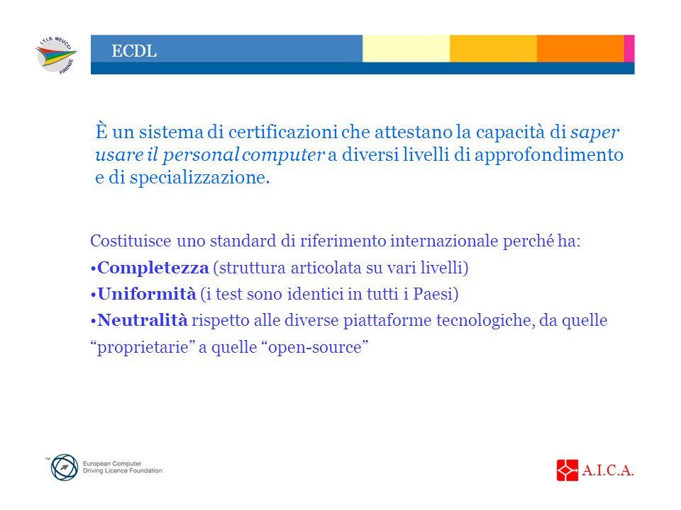 È un sistema di certificazioni che attestano la capacità di saper usare il personal computer a diversi livelli di approfondimento e di specializzazione.