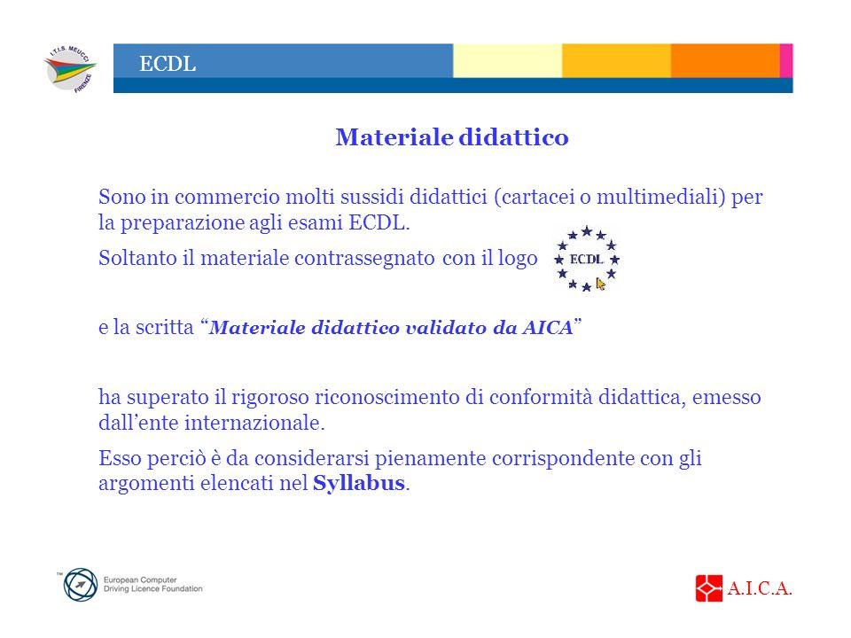 Materiale didattico Sono in commercio molti sussidi didattici (cartacei o multimediali) per la preparazione agli esami ECDL.