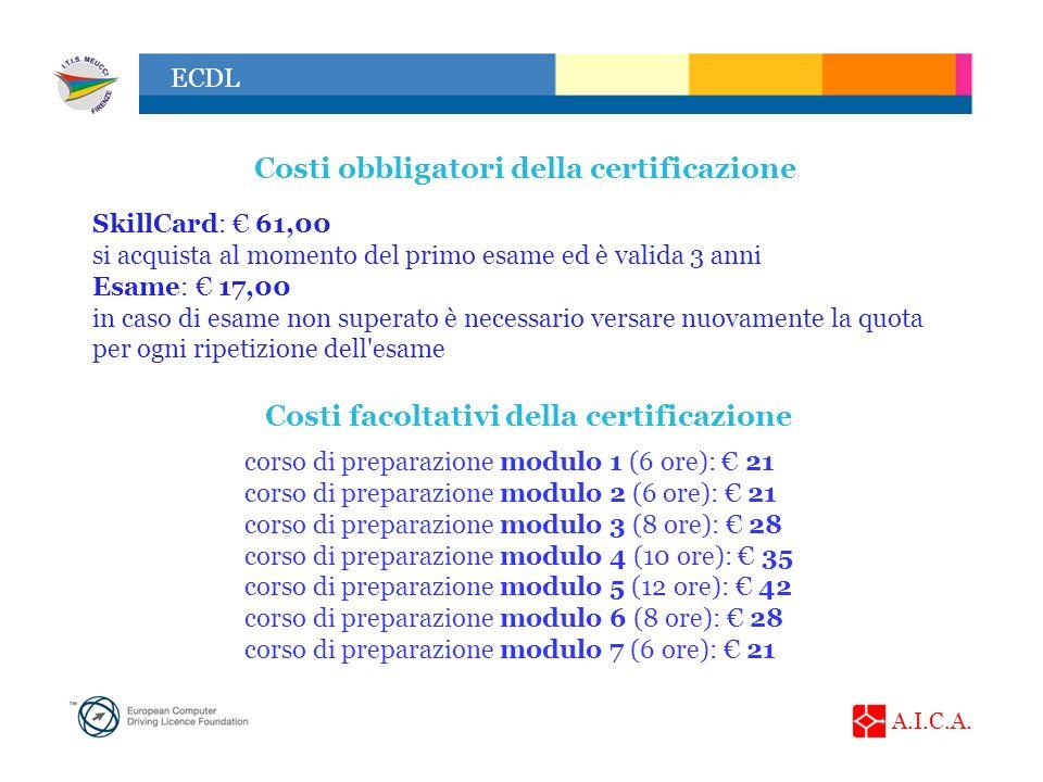 Costi obbligatori della certificazione