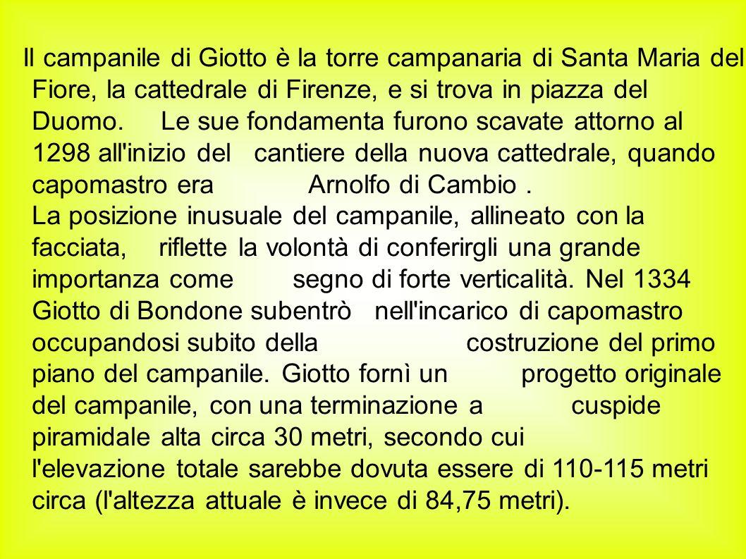 Il campanile di Giotto è la torre campanaria di Santa Maria del Fiore, la cattedrale di Firenze, e si trova in piazza del Duomo.