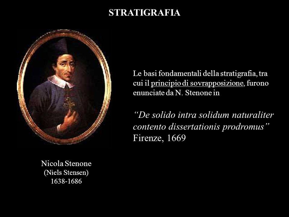 STRATIGRAFIA Le basi fondamentali della stratigrafia, tra cui il principio di sovrapposizione, furono enunciate da N. Stenone in.