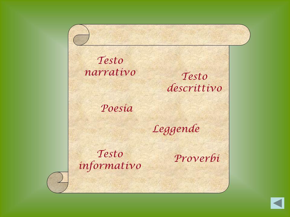 Testo narrativo Testo descrittivo Poesia Leggende Testo informativo Proverbi