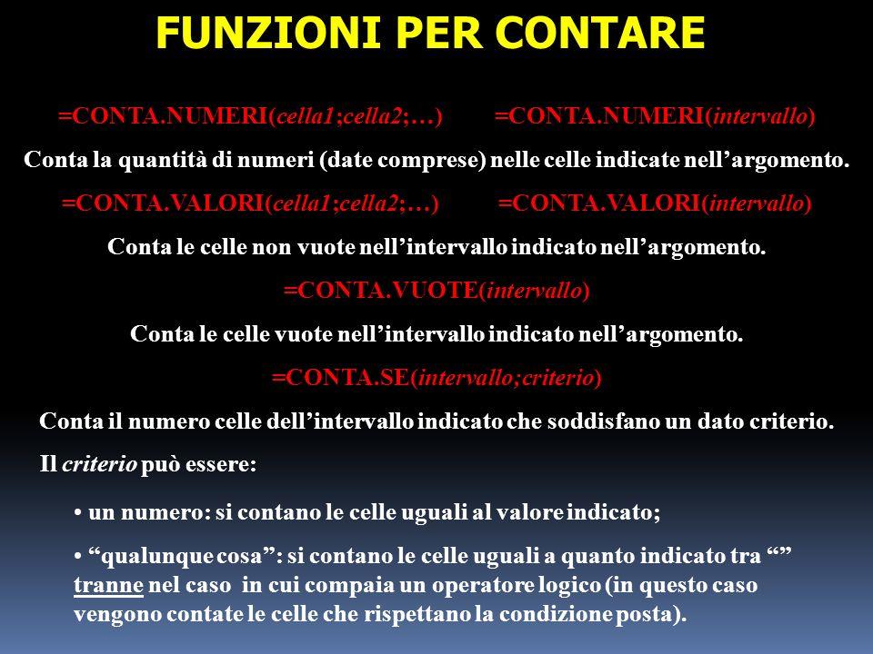 FUNZIONI PER CONTARE =CONTA.NUMERI(cella1;cella2;…) =CONTA.NUMERI(intervallo)