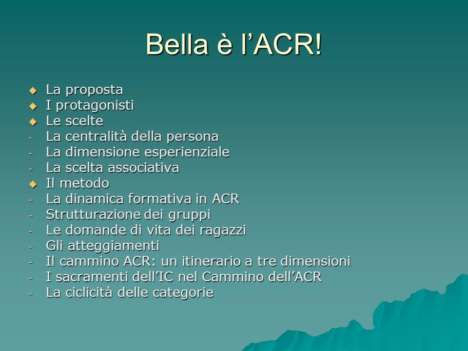 Bella è l'ACR! La proposta I protagonisti Le scelte
