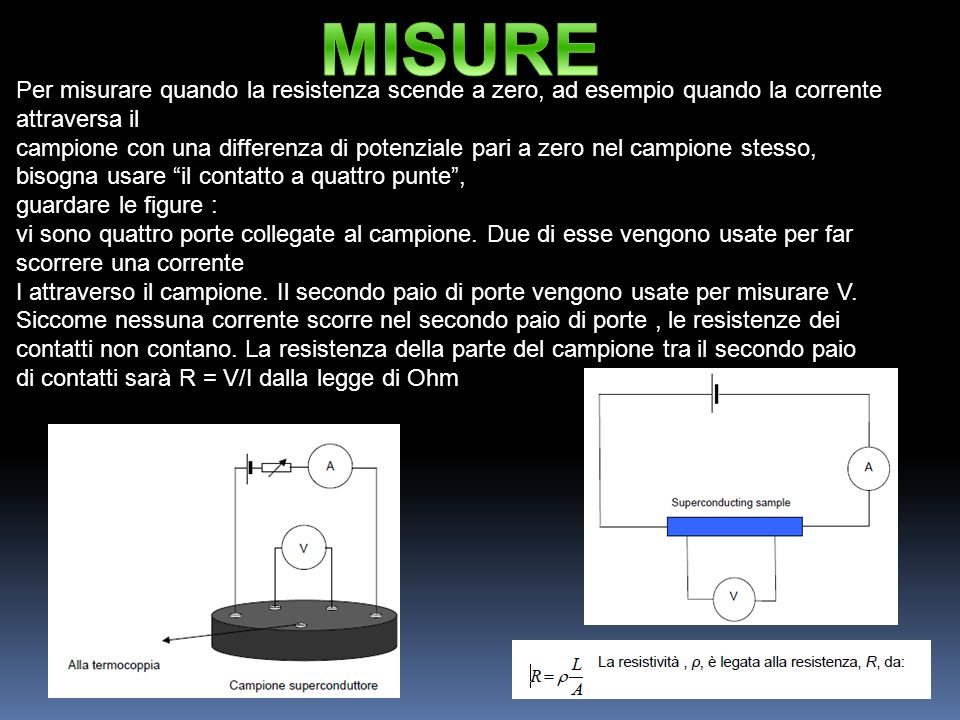 MISURE Per misurare quando la resistenza scende a zero, ad esempio quando la corrente attraversa il.