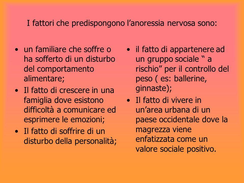 I fattori che predispongono l'anoressia nervosa sono: