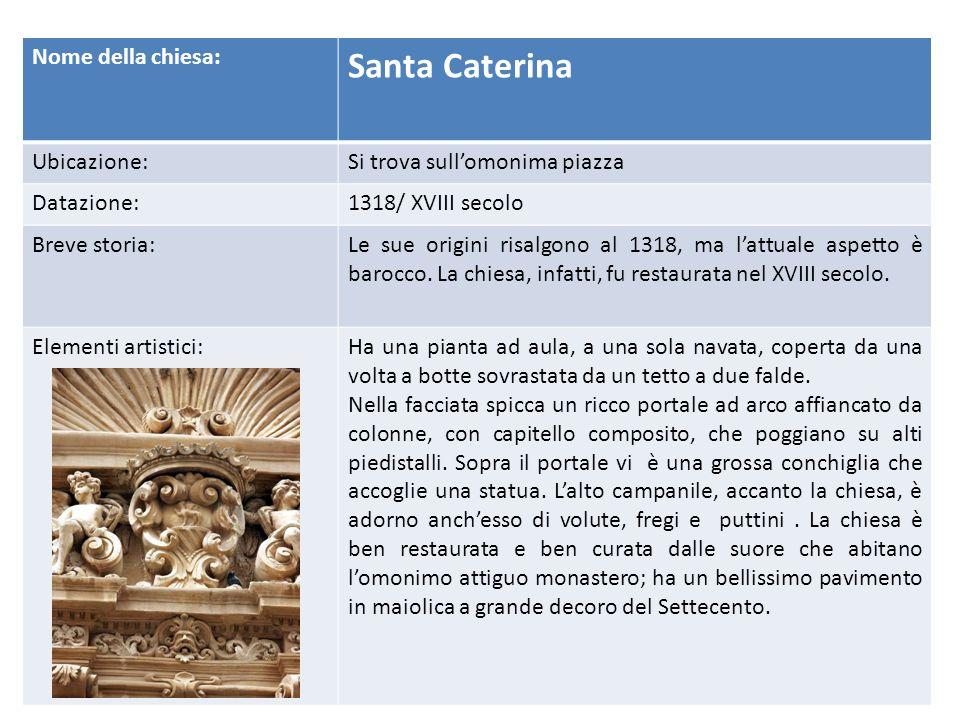 Santa Caterina Nome della chiesa: Ubicazione: