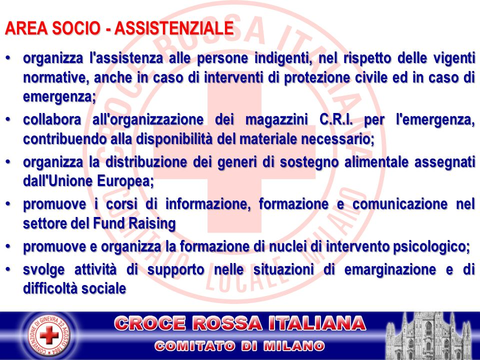 AREA SOCIO - ASSISTENZIALE